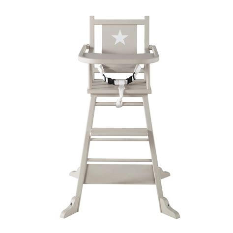 wooden baby s high chair in taupe pastel maisons du monde
