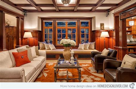 warm craftsman living room designs decoration  house