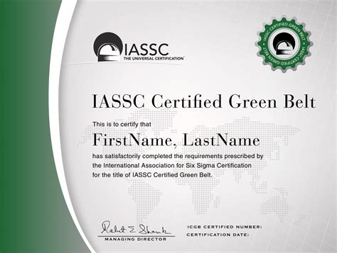 iassc lean  sigma green belt exam included