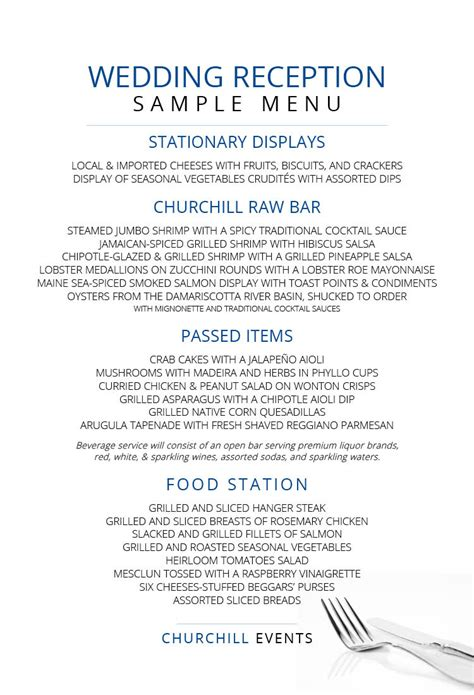 menus churchill