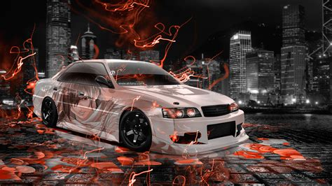 toyota chaser jzx jdm anime aerography city energy car