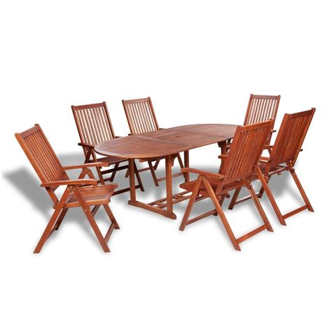 wooden dining table and 6 chairs vidaxl wooden outdoor dining set 6 adjustable chairs 1