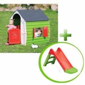 Maisonnette Enfant Pas Cher : maison toboggan bebe cabanes abri jardin ~ Melissatoandfro.com Idées de Décoration