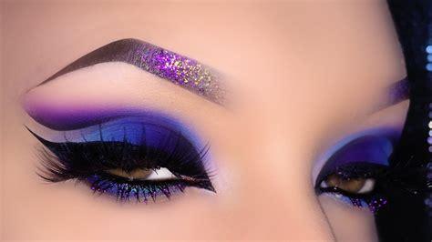 sexy arabic spring blue purple cut crease makeup