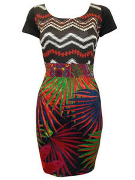 qatar collections heels size desigual tropical print bodycon dress patchwork size 8 10