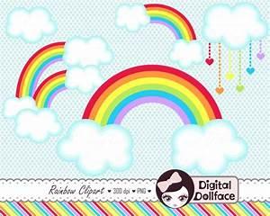 Double Rainbow Clipart, Cloud Clip Art, Digital Scrapbook ...