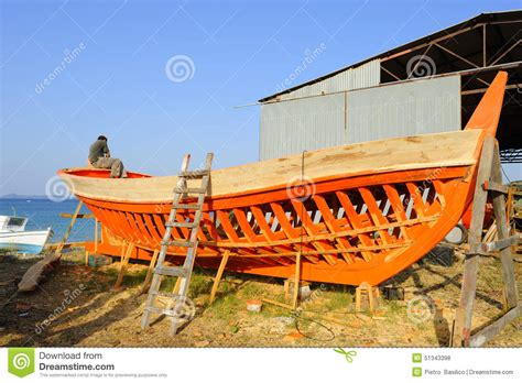 Fishing Boat Construction 3 by Europe Greece Halkidiki Wooden Boat Building Editorial