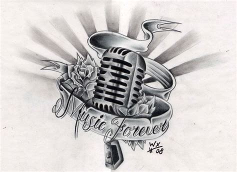 notes   microphone    ribbon  flower tattoo ideas  tattoo