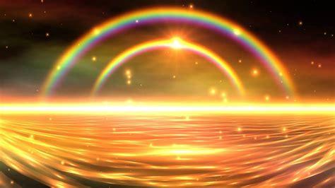 colorful double rainbow falling snow  sunset uhd hd