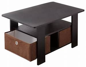 Giordana modern coffee table with storage baskets for Southwestern coffee table