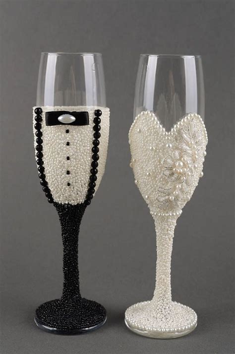 glasses wedding wine handmade glass champagne decorative amazon gift pieces engagement ware pe decorated decorations accessories decor custom weddings madeheart