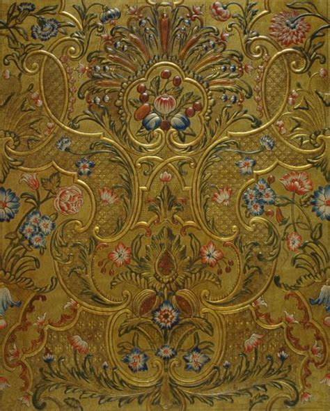 embossed  gilt leather panel  polychrome painting