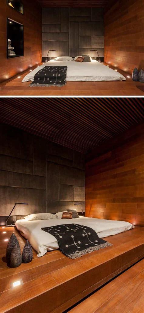 chambre avec estrade lit futon et lit plateforme pour chambre adulte contemporaine