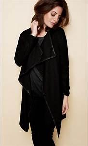 Gilet Long Noir Femme : gilet femme manches longues laine et cuir ~ Voncanada.com Idées de Décoration