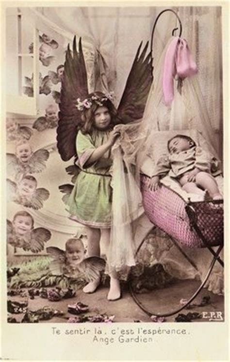 vintage photo postcard angel cherubs  graphics fairy