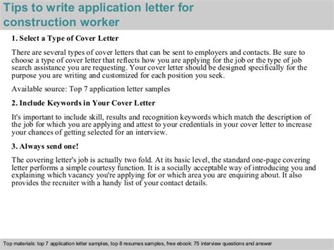 Letter Construction Worker by Construction Worker Application Letter