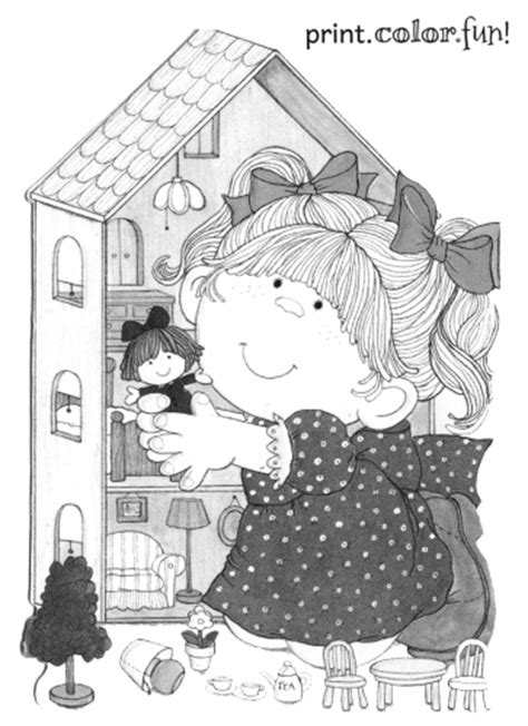 girl   dollhouse coloring page print color fun