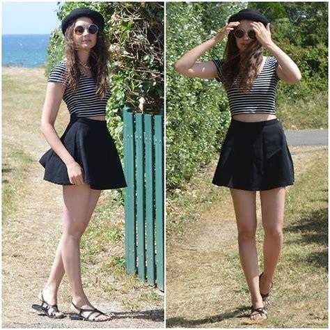 Mademoiselle Cru00e9ative - American Apparel Natural Denim Circle Skirt Tally Weijl Striped Crop ...