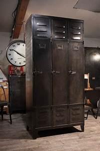 Meuble De Metier Industriel Ancien Vestiaire En Metal 1940