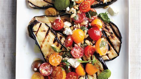 grilled eggplant  tomatoes basil  feta