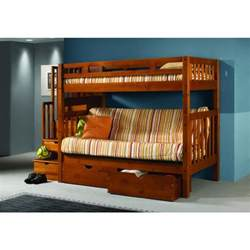 tall mission stairway twin over futon wood bunk bed