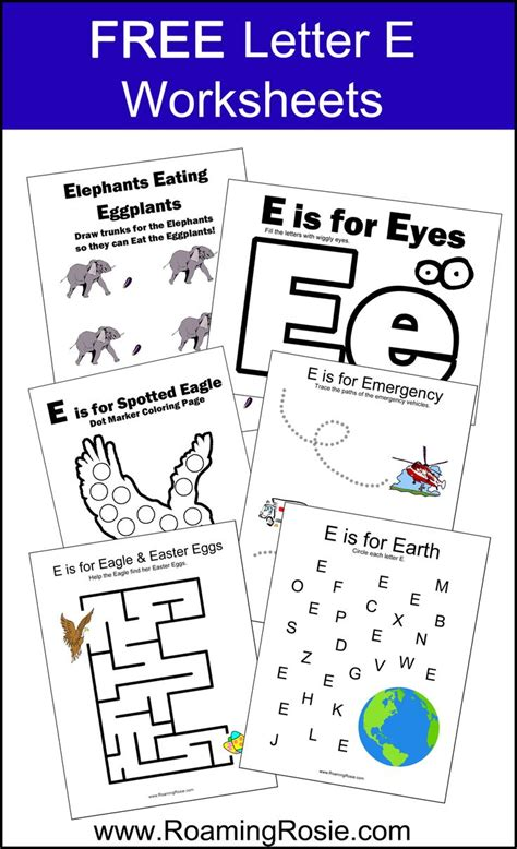 free letter e printable worksheets alphabet activities at