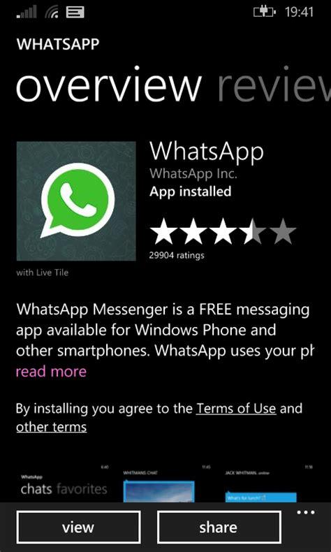 unable to update whatsapp on nokia lumia 625 windows 8 1
