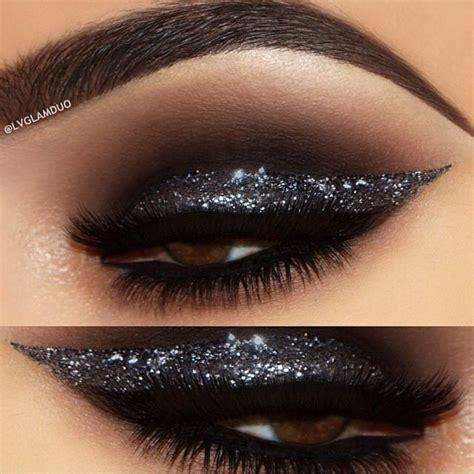 smoky black glitter eye makeup idea michaelthesalon