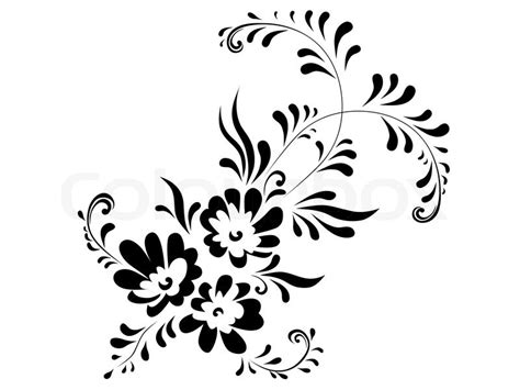Abstract Flowers Black And White by Illustration Of Floral Abstract Stock Vector Colourbox