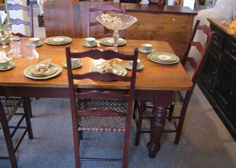 French Country Farm Table With Vintage Wood Top And 5