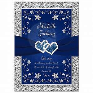 wedding invitation navy blue silver joined hearts With wedding invitation templates light blue