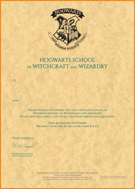 Hogwarts Letter Template 6 Hogwarts Letter Of Acceptance Template