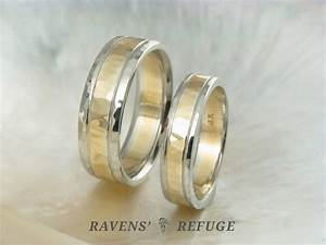 Unique two tone wedding band set hand hammered wedding for Two toned wedding ring sets
