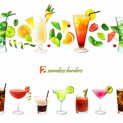 Border Cocktail Drink Borders Seamless Vector Clipart