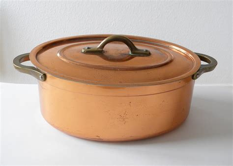vintage copper pot cooking pot by thehopetree on etsy