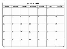 March 2018 Calendar Template calendar for 2019