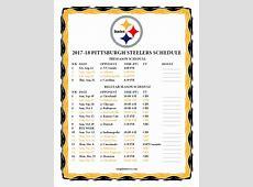 Printable 20172018 Pittsburgh Steelers Schedule