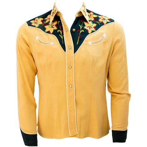 mens yellow  green embroidered western shirt
