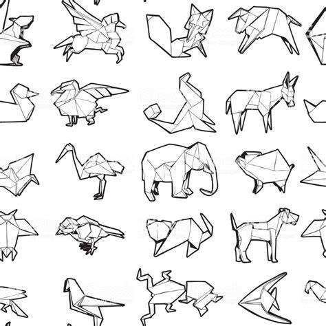 seamless pattern   origami animal hand drawn