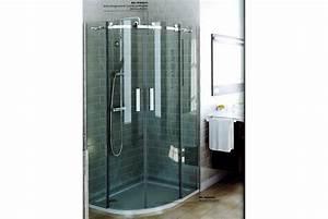 Porte coulissante arrondie pour douche d39angle luisina for Porte douche coulissante arrondie