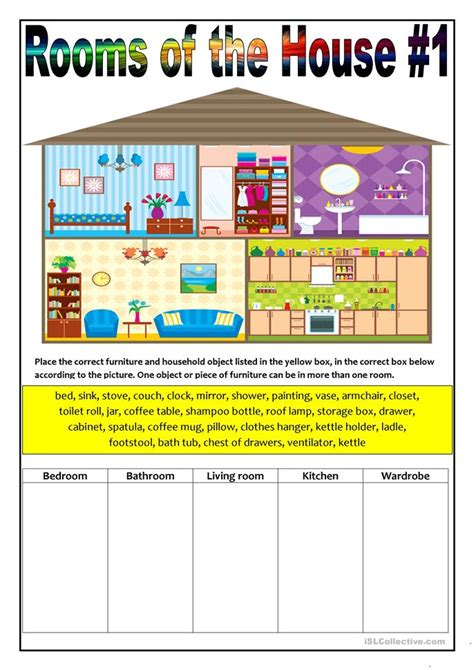 83 Free Esl Rooms In The House Worksheets