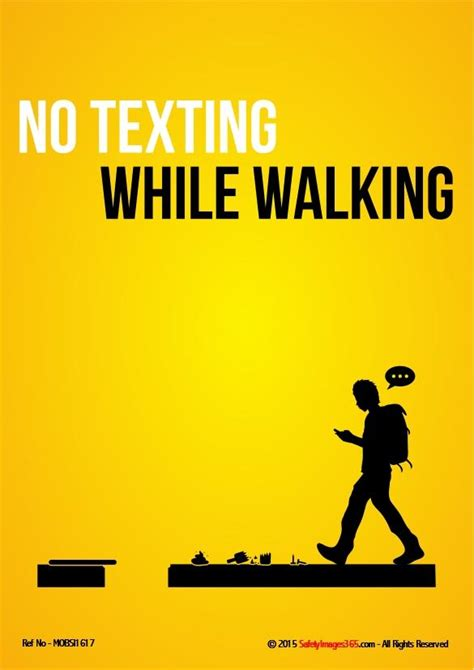 mobile phone safety poster  texting  walking