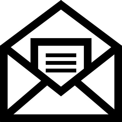 Email Symbol For Resume by Mail Open Symbol Of An Envelope With A Letter Inside