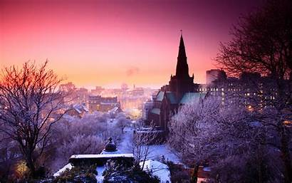 Town Winter Panorama Background Wallpapers Wall