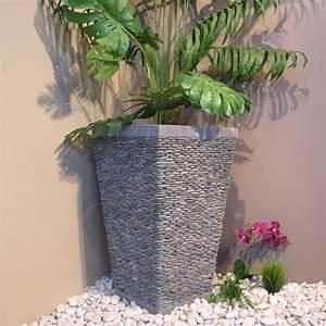 Pot de jardin en galet de riviere carre naturel h 80 cm for Salle de bain design avec décoration noel extérieur jardin