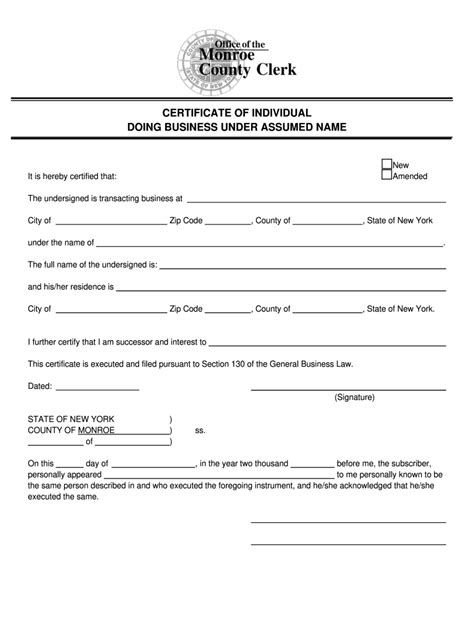 dba forms rochester ny fill  printable fillable