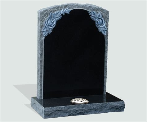 polished pitched black granite headstone memorials of