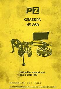 Pz Tedder Grasspa Hs360 Operators Manual With Parts List