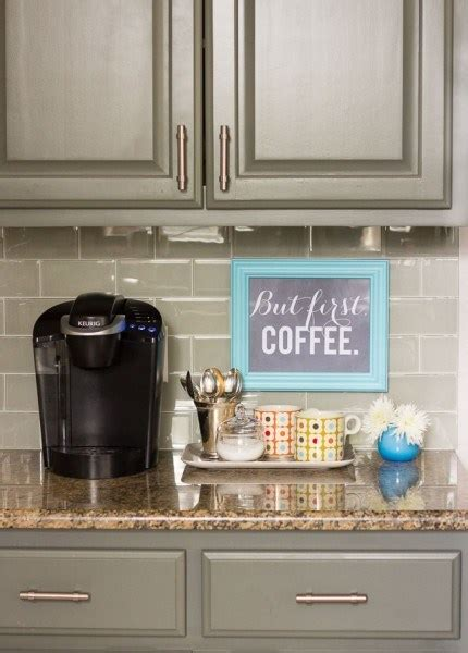 Your coffee supplies are taking up valuable real estate on your kitchen counter. Remodelaholic   13 Ideas for a Home Coffee Bar