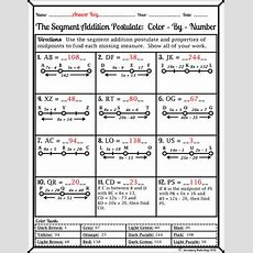 Segment Addition Postulate Colorbynumber Wintery Worksheet Tpt